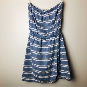 Gap Striped Chambray Strapless Dress S EUC